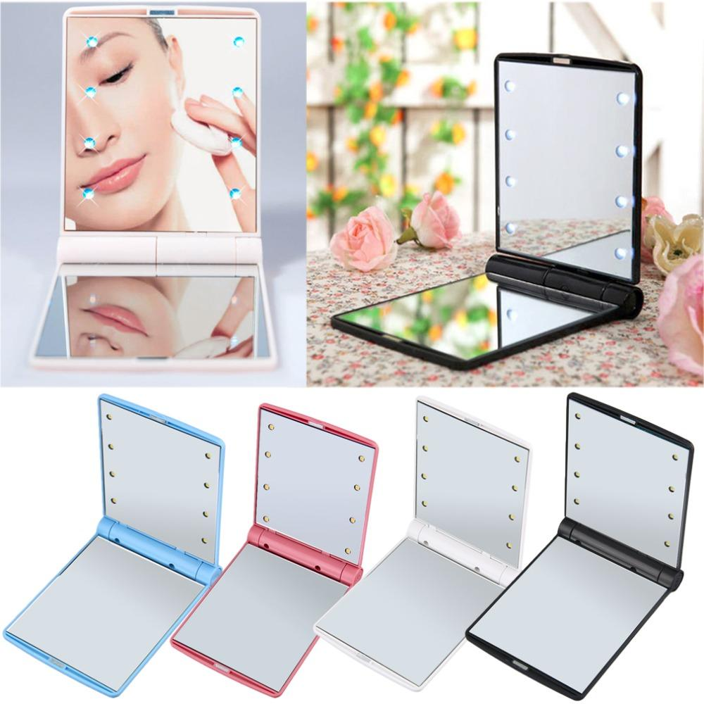 Fashion Women Ladies Make Up Mirror Cosmetic Folding Portable Compact Pocket with 8 LED Lights Makeup Tool Nice Gift