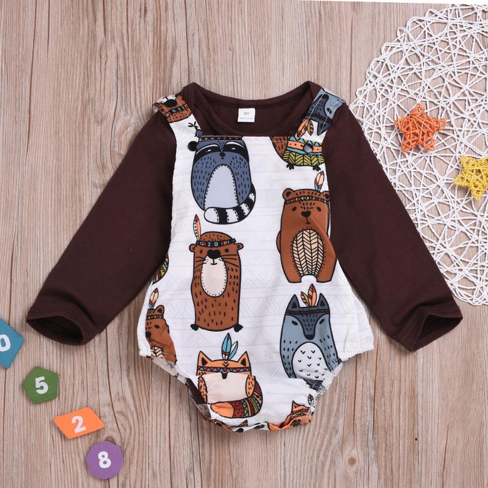 b6bf6a82b12c24 Moda Bebê Presente Outono / Inverno Longo Colorido Dos Desenhos Animados  Urso Rapper Suspensórios Romper Pure Color Top Camisa Outfit Roupas ...