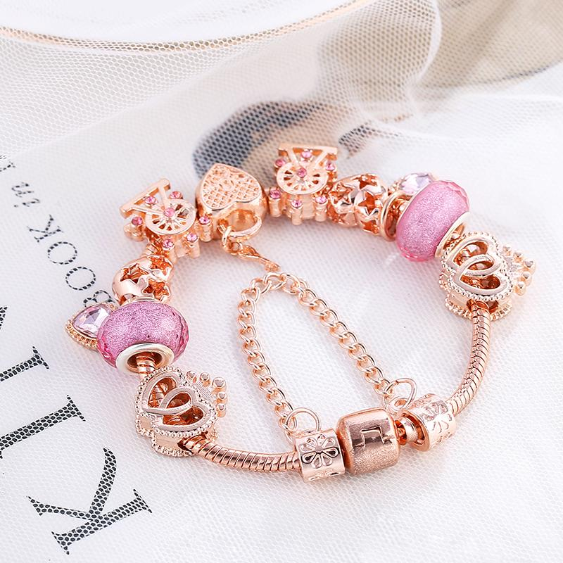 BAOPON New Heart & Key Pendant Rose Gold Color Fine Bracelets & Bangles Ferris Wheel Beads Charm Bracelet For Women Jewelry