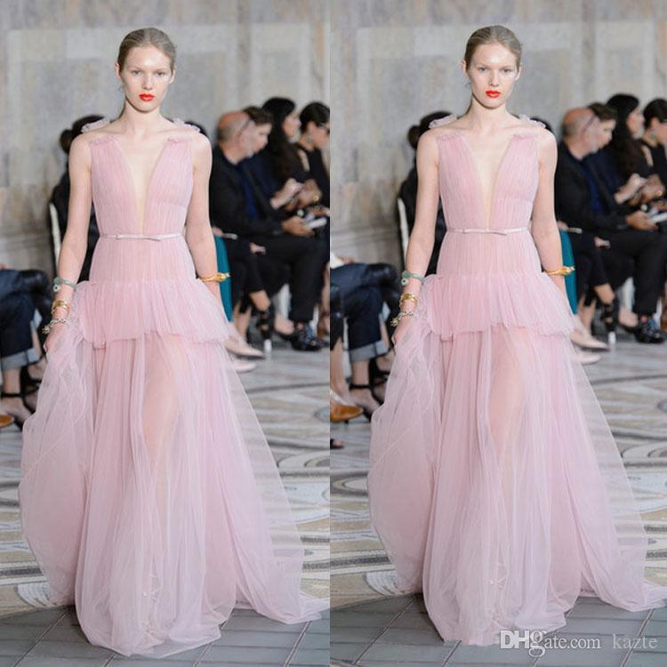 2020 Elie Saab Light Pink Evening Dresses Ruffles Deep V Neck Chiffon Prom Gowns Floor Length Runway Fashion Dresses