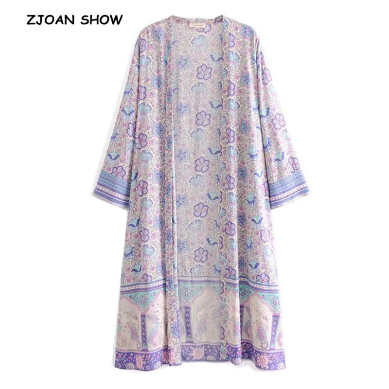 ed09c0f885dd01 2019 2019 New Women Bohemian V Neck Lavender Flower Print Kimono Shirt  Black Holiday Beach Long Sleeve Long Cardigan Blouse Tops From Manteau, ...