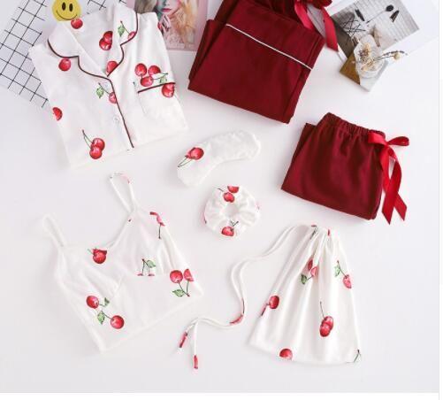 c1345634493b 2019 Wholesale 2019 Cute Women Pajamas Sets 100% Cotton Home Wear Suit  Pyjamas Femme Tops+Shorts+Shirt+Pants Casual Sleepwear From  China wholesale18