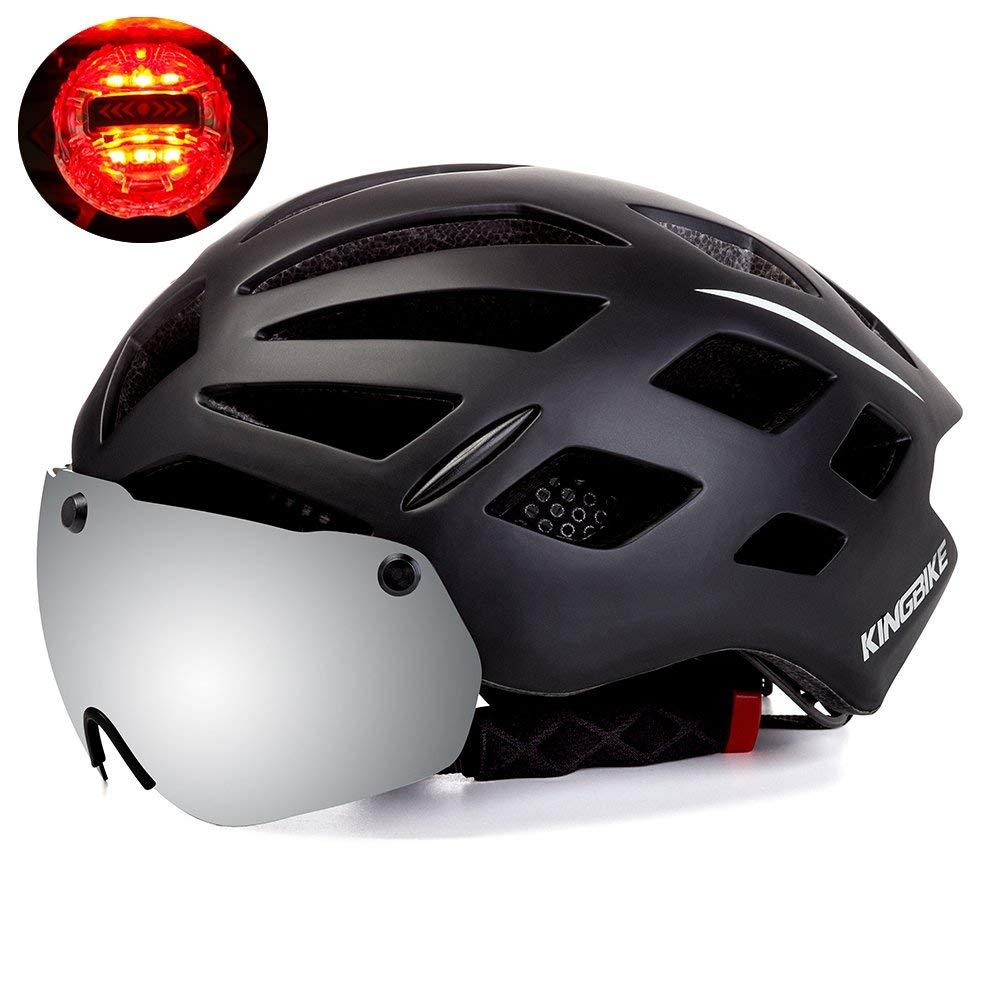 Bicycle Helmet With Detachable Eye Shield Goggles 100% UV400 Protection Men Women Cycling MTB Rear Safety LED Light Bike Helmet