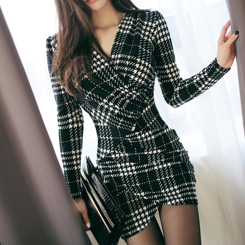 Vintage Sexy Plaid Robes 2019 Printemps Femmes À Manches Longues Bodycon Bureau Bureau De Travail De Travail Dress Club Party Crayon Robe Yh129 designer de vêtements