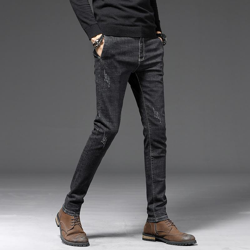 30fa88a894 Moda Hombre 2019 Jeans neri per uomo Jeans aderenti Pantaloni uomo slim fit  elasticizzati Pantaloni jeans moda Kot Pantolon Erkek
