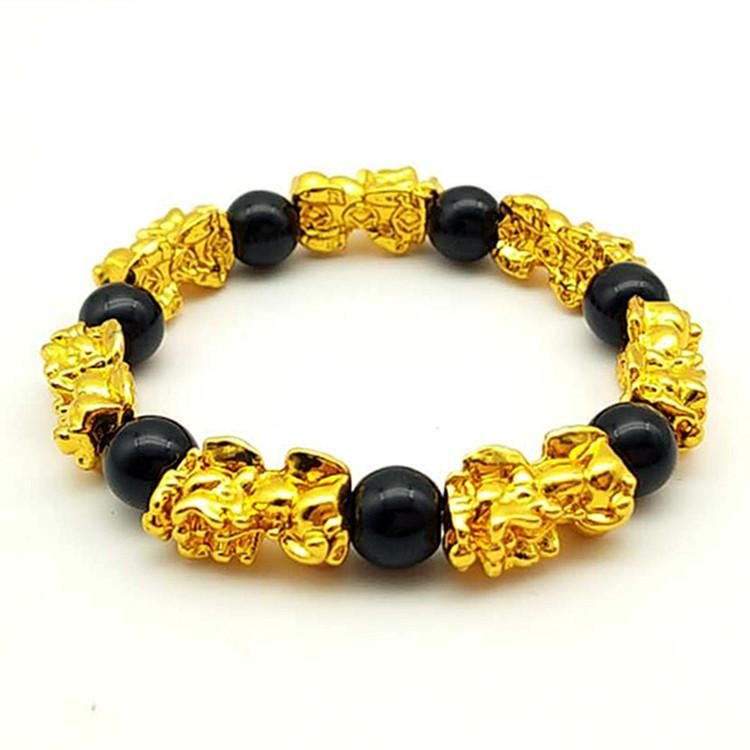 Huilin Jewelry Hot Selling 3D gold Plated pixiu bracelet Lucky Mens Picchu  Bangle for gift