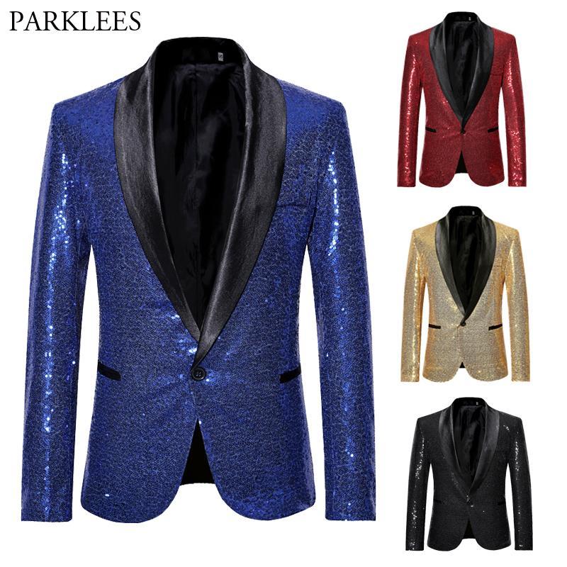 1a9351345 Compre Brilhante Lantejoula Glitter Blazer Homens Jaqueta Casual Slim Fit  Xale Gola Macho Azul Royal Tuxedo Blazers Cantor Traje Casaco Masculina De  ...