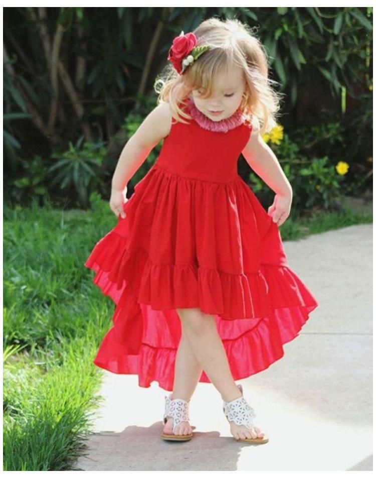 4254940db8ff Estilos INS Ropa para niños vestido de verano sin mangas Vestido irregular  vestido casual elegante de niña B11