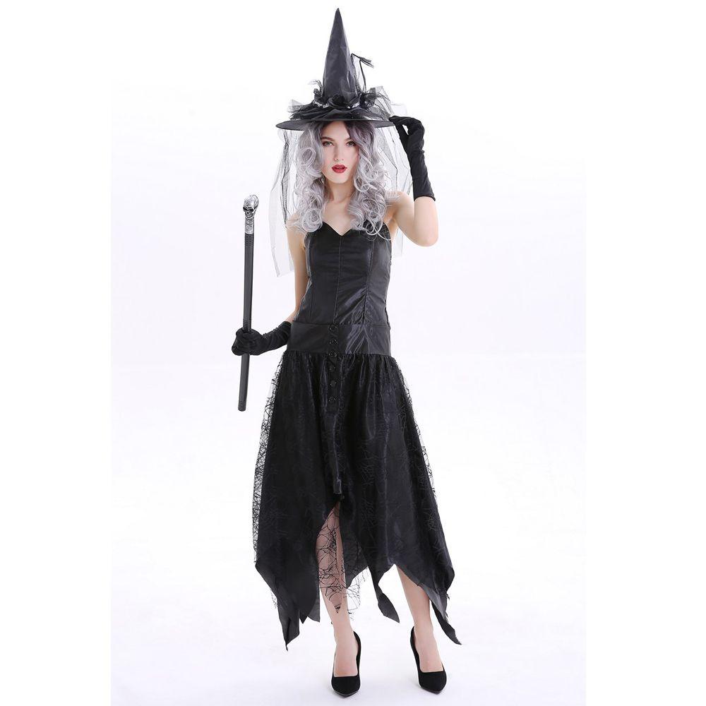 Vestiti Halloween Strega.Black Evil Witch Costume Halloween Party Sexy Strega Cosplay Carnevale Fantasia Fancy Dress
