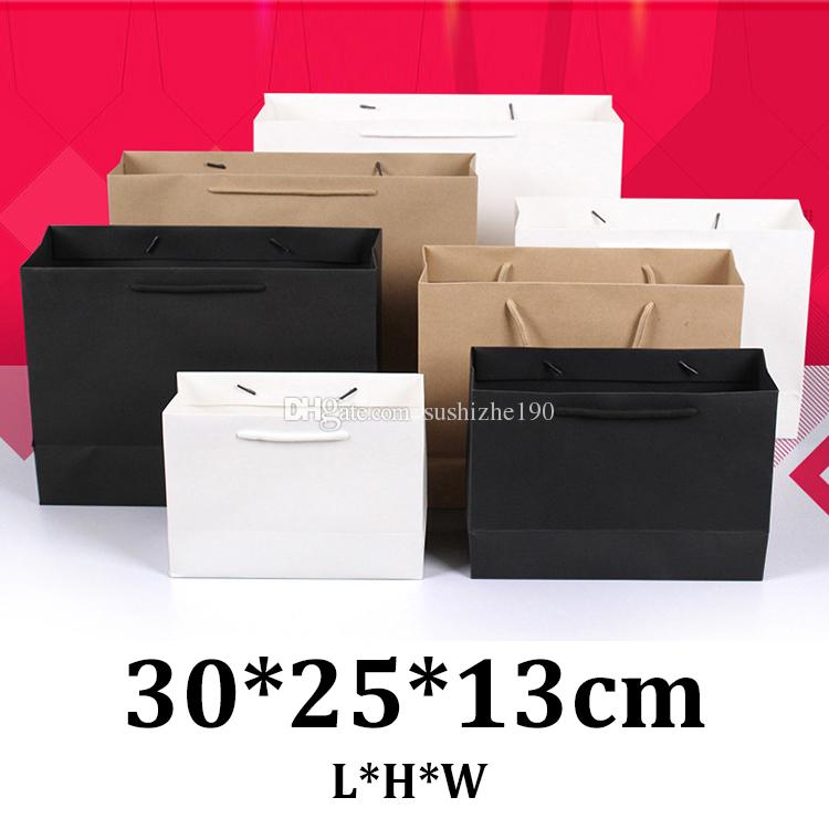 wholesale 30x25x13cm horizontal kraft paper shopping bags with handles
