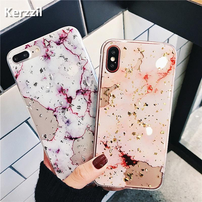 the best attitude 141c2 92429 Bling Gold Foil Marble Phone Case For iPhone X XS Max XR Cover Hole Soft  TPU Cases For iPhone 7 8 6 6s Plus Glitter Capa