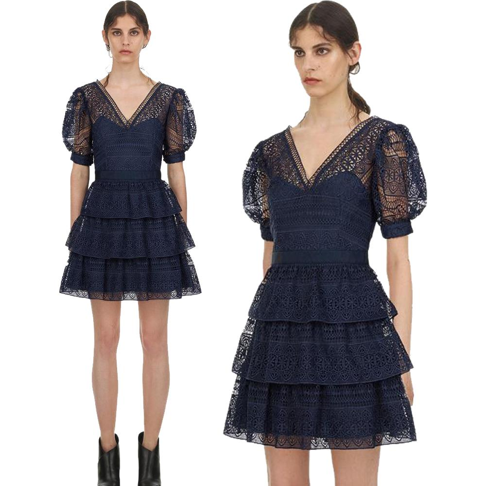 b6b6e3be9 2019 Luxury Series#Evening Dress 2019 New Look Navy Blue V Neck Ruffle  Fashion Elegant Lace Women Mini Party Dinner Dresses From Clothes_zone, ...