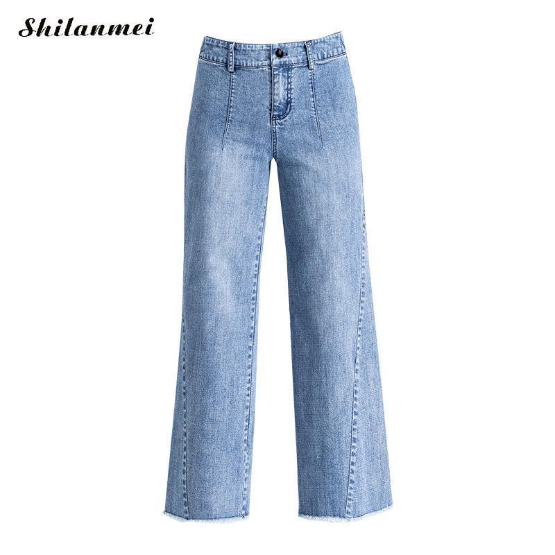 Compre 2019 Moda Mujer Verano Jeans Casual Azul De Longitud Completa Pantalones  Anchos De La Pierna Jeans De Cintura Alta Sueltos Pantalones De Vaquero ... 4a72173d85c