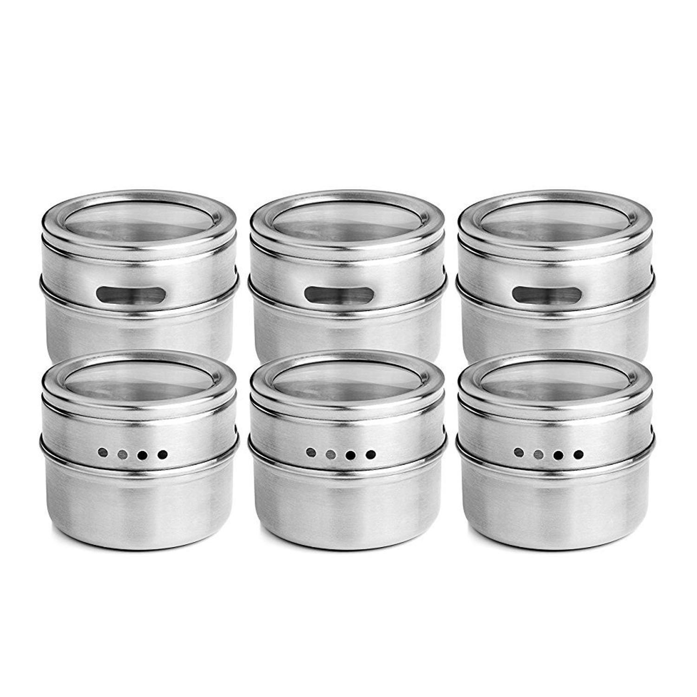 12 pçs / set Limpo Tampa Magnética Spice Tin Jar Aço Inoxidável Spice Molho Recipiente De Armazenamento Frascos De Cozinha Condimento Holde