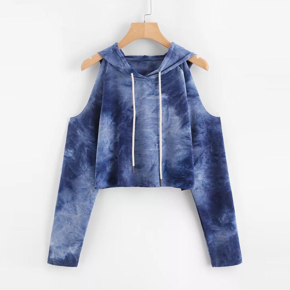 ad65007b5 Tops y blusas para mujer Sudadera con capucha sin tirantes Impreso buena  calidad Sudadera kimono Suéter de manga larga Tops Blusa