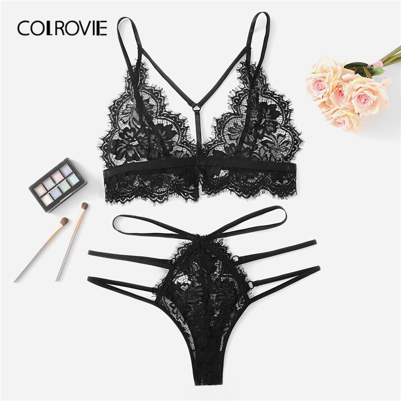 6b2ae33f5 2019 Wholesale Black Harness Eyelash Lace Floral Sexy Intimates Women  Lingerie Set Cut Out Wireless Transparent Underwear Bra Set From  Youerclothing