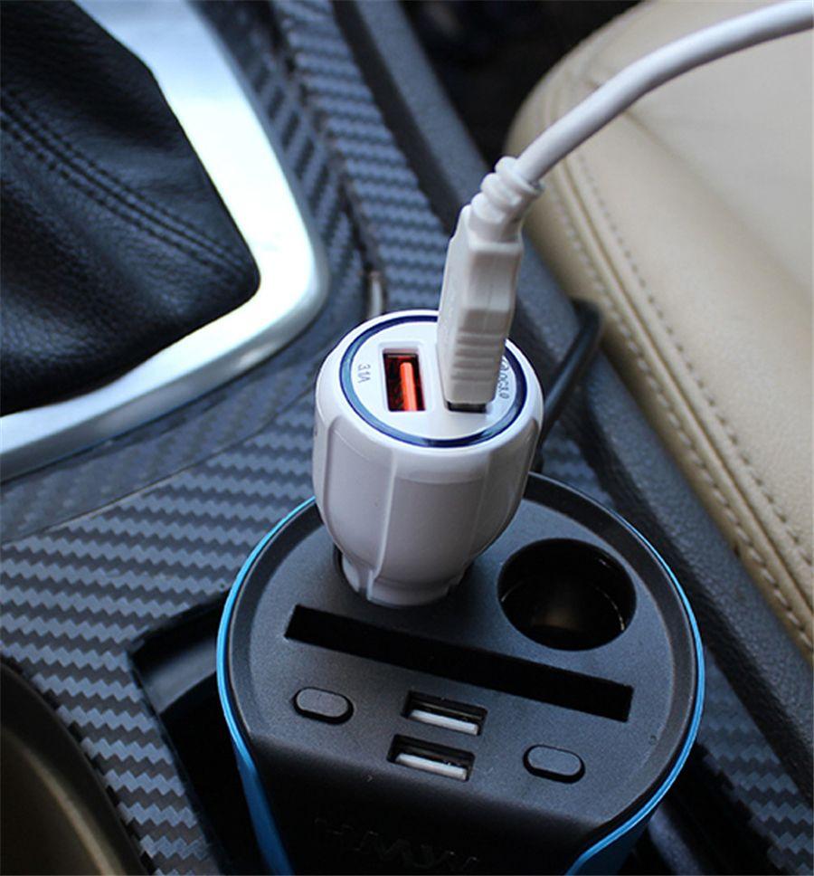 Cell Phone Car carregador duplo QC3.0 USB rápida adaptador de carga inteligente 12V 3.1A Para Android sem embalagem