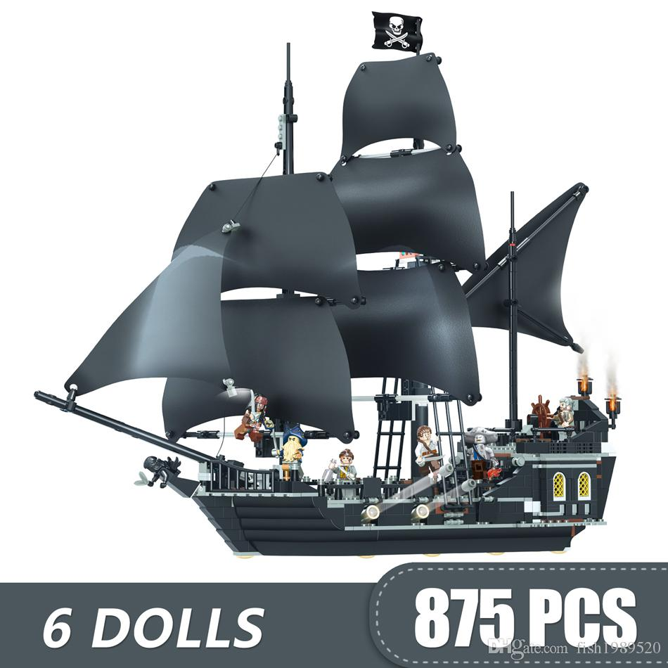 875PCS Small Building Blocks Toys Compatible Legoe Caribbeans The Black Pearl Ship Pirates Gift for girls boys children DIY
