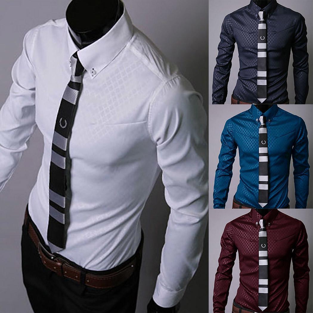 66d328200ede Camisa de hombre sólido Camisa descubierta de manga larga de algodón suave  Camisa cómoda de celosía Ropa de trabajo formal de negocios causal ...