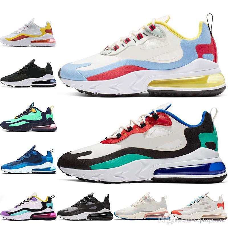 Nike air max 270 RCon calcetines 2019 Designer React Zapatos para correr para hombres mujeres BAUHAUS OPTICAL Beige Azul Void transpirable para hombre