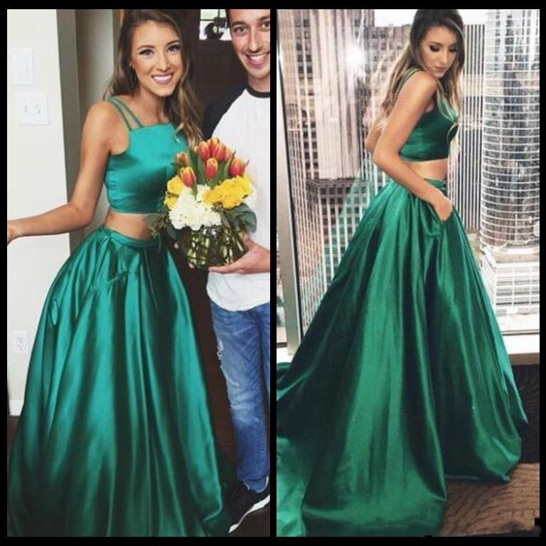 130f2a60327 Emerald Green Prom Dresses Long Satin A Line Spaghetti Floor Length Prom  Dress Formal Women Special Occasion Evening Party Wear Camo Prom Dresses  Under 100 ...