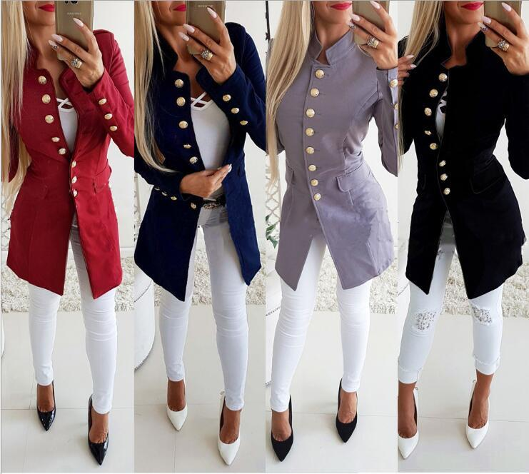 European and American autumn and winter fashion new women's long-sleeved single-breasted slim collar small suit jacket