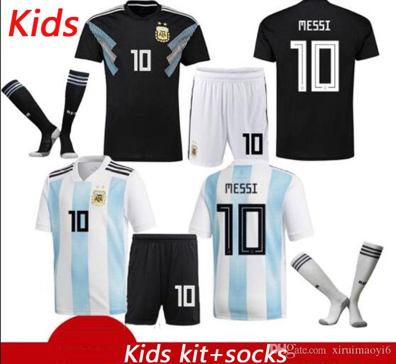 1c36c057d5b 2019 2018 World Cup Argentina Kids Soccer Jersey Argentina Home Soccer  Shirt  10 MESSI  9 AGUERO  11 DI MARIA  21 DYBALA Football Uniformstuit  From ...