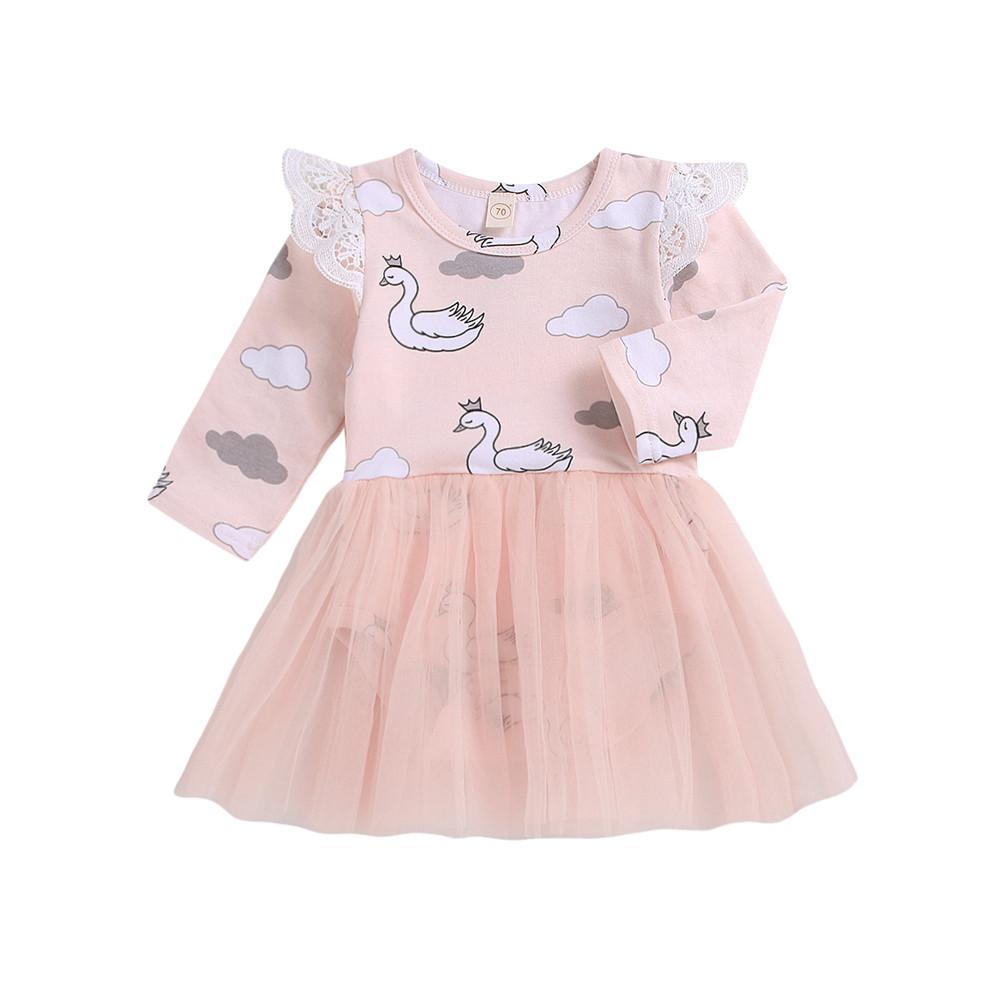 4bb35811f MUQGEW Infantil Bebé Recién Nacido vestido de Dibujos Animados Cisne  Mameluco Tulle Princesa Vestido de Ropa ropa para niños niña vestido  infantil