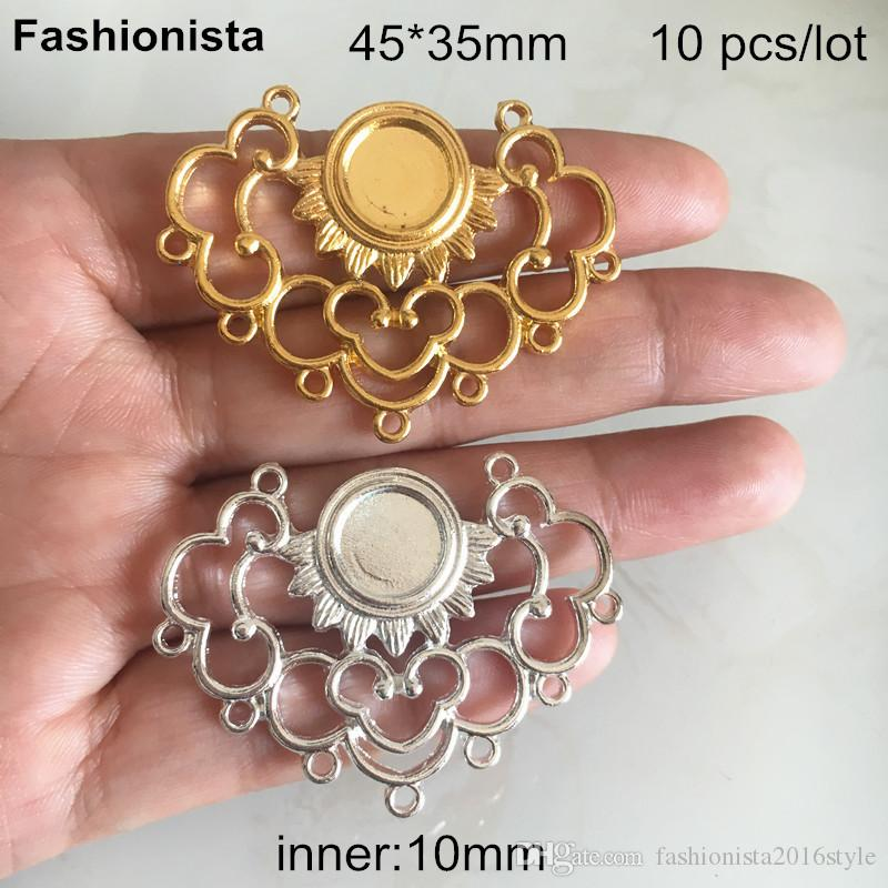 10 pcs -45*35mm Metal Scroll Cloud Multi-loop Connectors With 10mm Base Setting,Handmade Jewelry Findings,Gold-color,Silver -XP