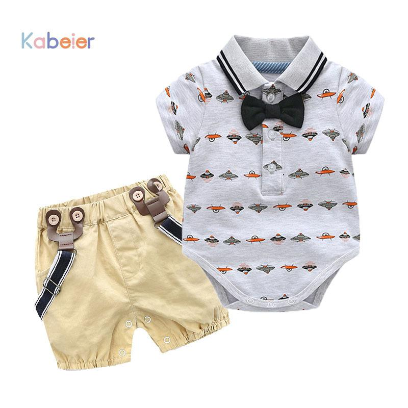 Toddler Boy Clothing Summer Newborn Boys Bow Wedding Romper Suit Spaceship Print Set Infant Kids Dress Baby Clothes Q190530