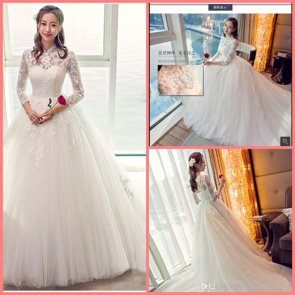 2019 new Robe de mariage ball gown white lace wedding dress hollow back sexy 3/4 sleeve corset princess puffy wedding gowns hot sale
