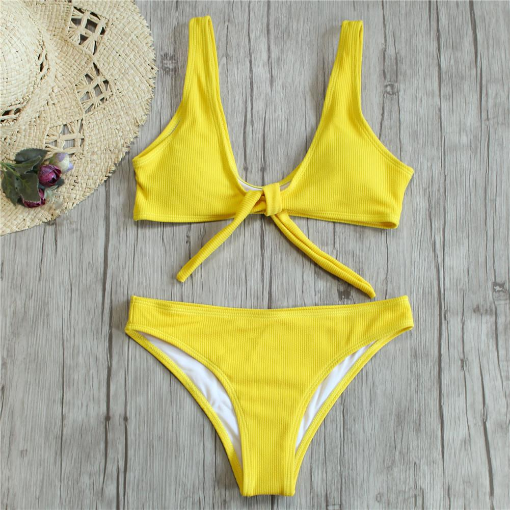5d27fd3089 2019 2019 Bikini Knotted Padded Thong Bikini Set Women Swimwear Swimsuit  Scoop Neck Solid High Cut Bathing Suit Brazilian Biquni From Fwuyun, ...