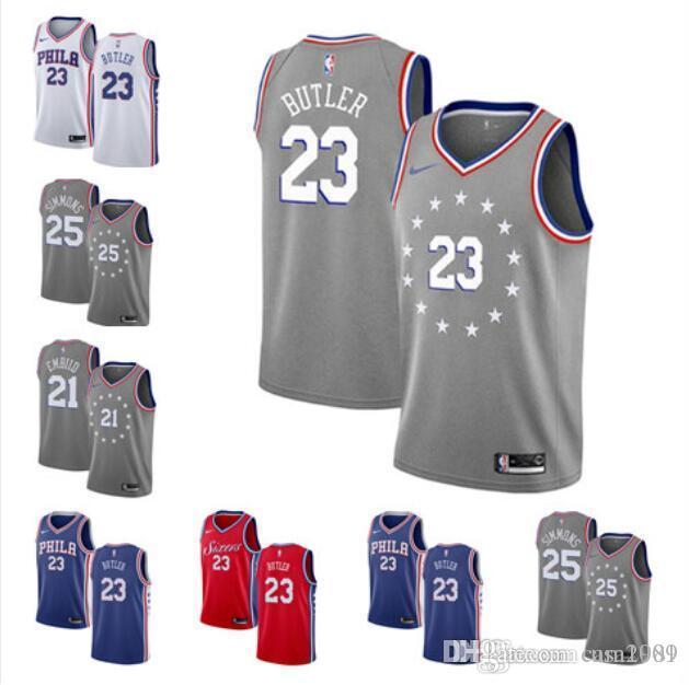 buy online 298b3 90195 2019 new Jimmy Butler Jersey Ben Simmons Allen Iverson Joel Embiid 23  Butler 21 Embiid 25 Simmons basketball jerseys