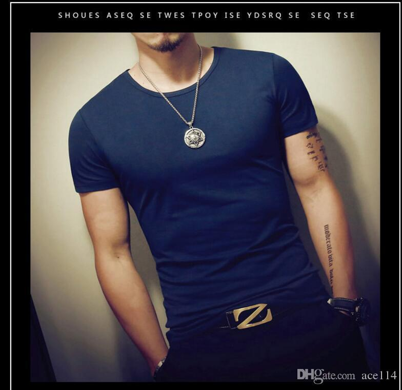 2582295b0c0 Wholesale Summer men s t-shirt solid color short-sleeved shirt European and  American tough guy round neck shirt