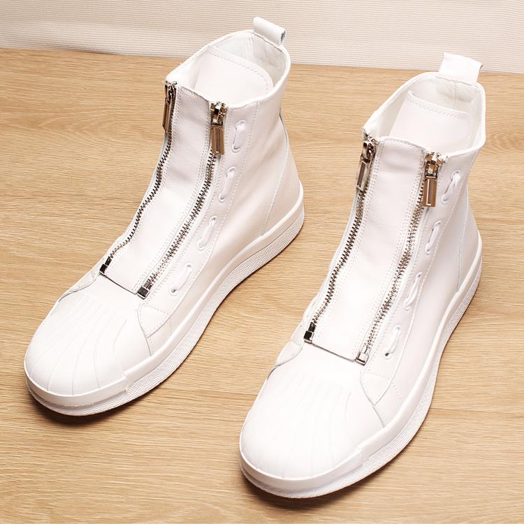 41d4dcb3c9 Compre Novos Homens Tendência De Moda De Luxo Sapatos De Couro Genuíno  Shell Cabeça Sapato Flats Sapatilhas Plataforma Chamador Duplo Zip Martin  Ankle Boots ...