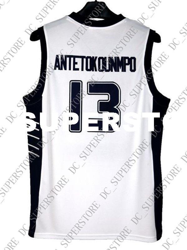 671bc778ca0 Cheap Wholesale Giannis Antetokounmpo Jersey 13 Greece Hellas White ...