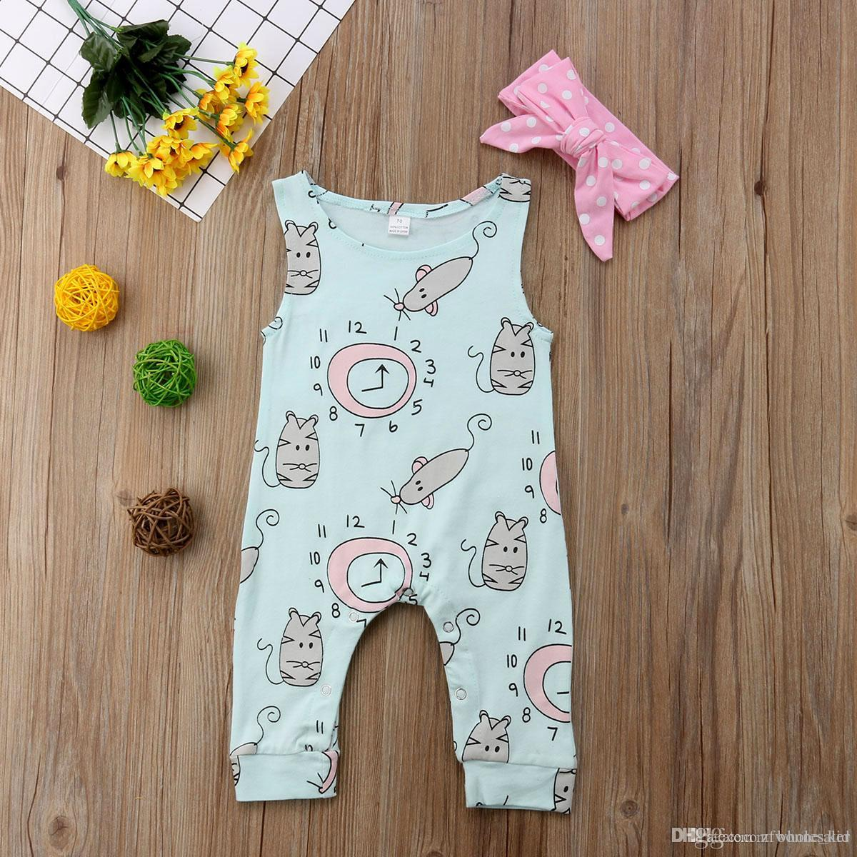 879d80bf0b120 Summer Infant Baby Girl Mouse Animal Romper Pink Headband Wathet Blue  Jumpsuit Sleeveless Cotton Comfy Bodysuit Kid Clothing set 0-24M