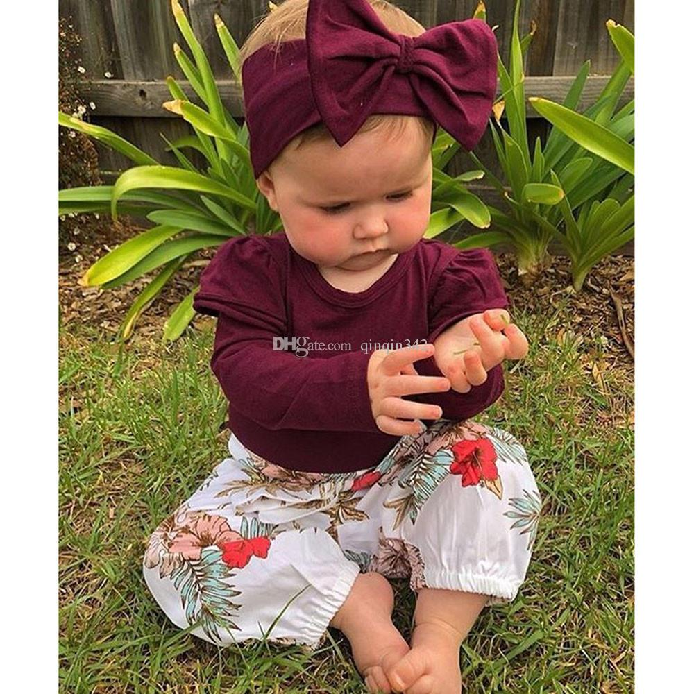 New Arrival Newborn Baby Girls clothes 3PCs Tops+Floral Pants Leggings children's clothing for girls conjunto menina