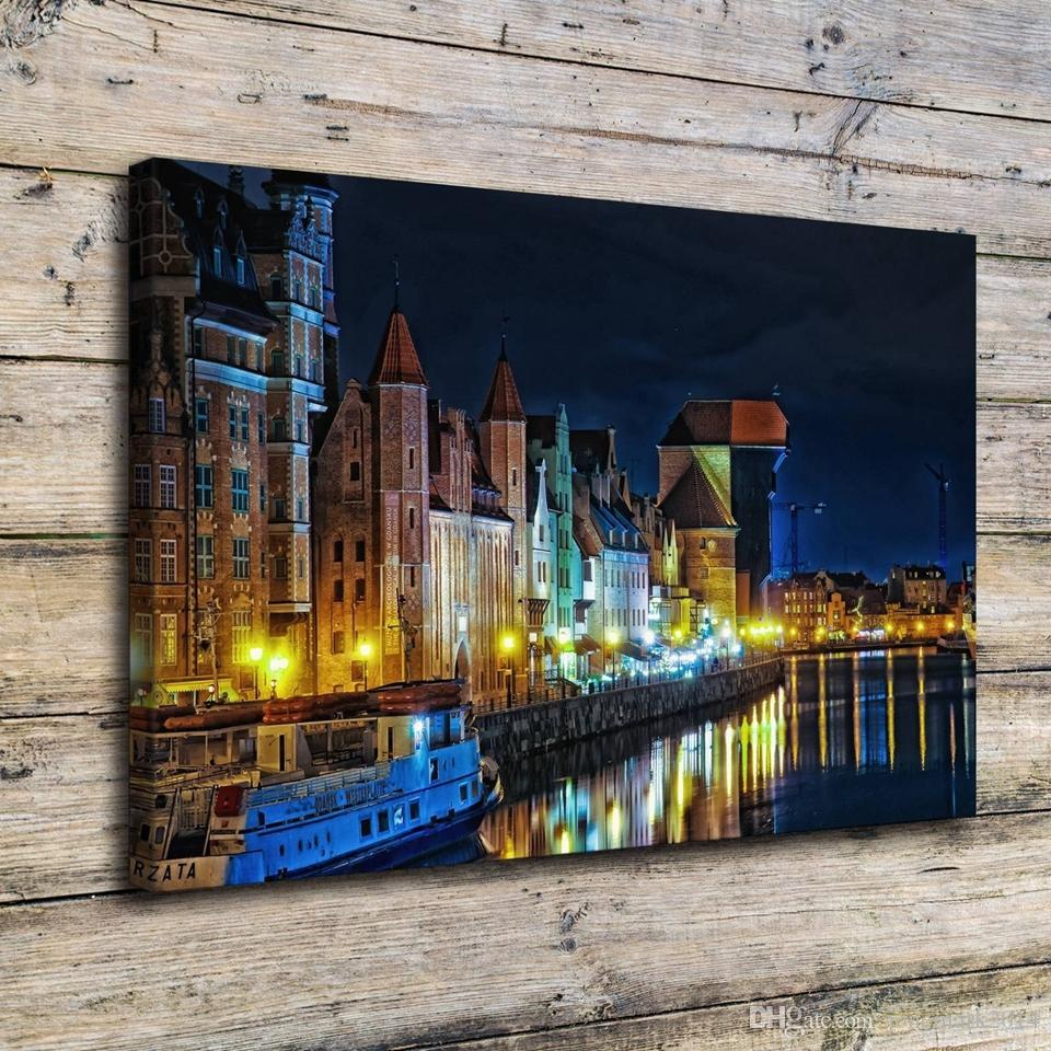 Canvas Painting Wall Art Frame 1 Piece Poland Houses Rivers Gdansk Night Street Lights City Pictures Prints Poster Home Decor