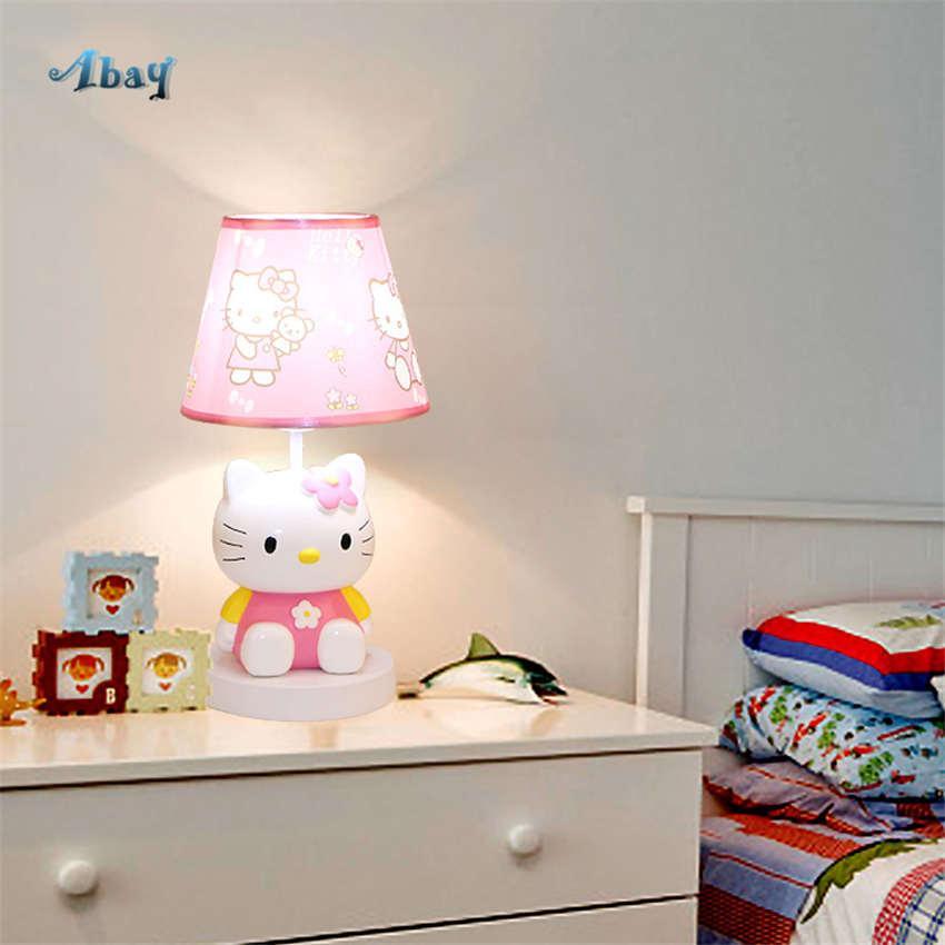 Acheter Dessin Animé Mignon Bonjour Kitty Chat Tissu Lampe De Table Pour  Les Enfants Étudier Enfants Créatifs Rose Chambre Lampe Maison Déco Fille  Lit ...