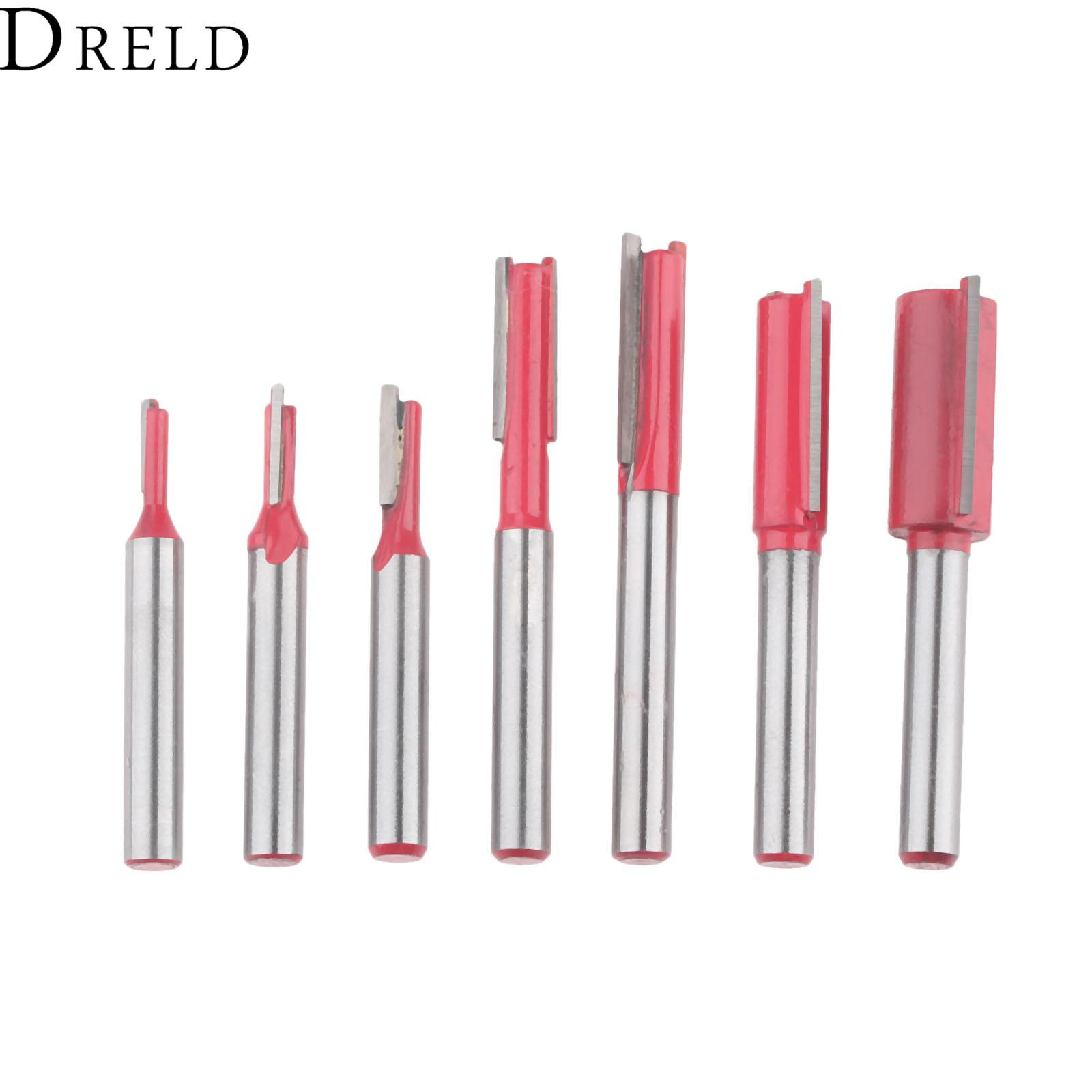 heap Milling Cutter DRELD 1pc Woodworking Tools 1/4 Inch Shank Double Flute Blade Straight Router Bit Carving Woodworking Trimming Millin...