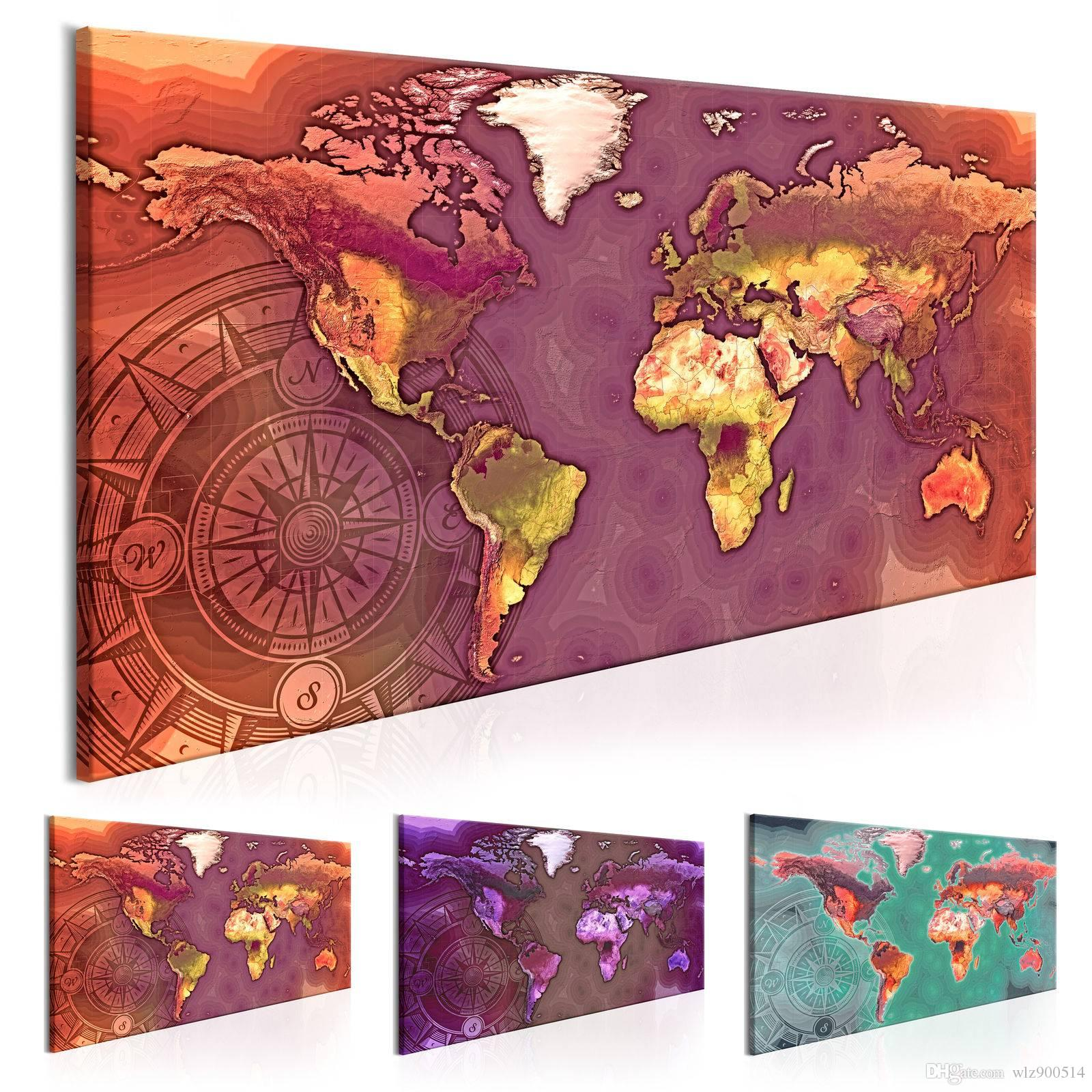 Unframed 1 Panel HD Printed Canvas Print Painting World Map Home Decoration Wall Pictures for Living Room Wall Art on Canvas