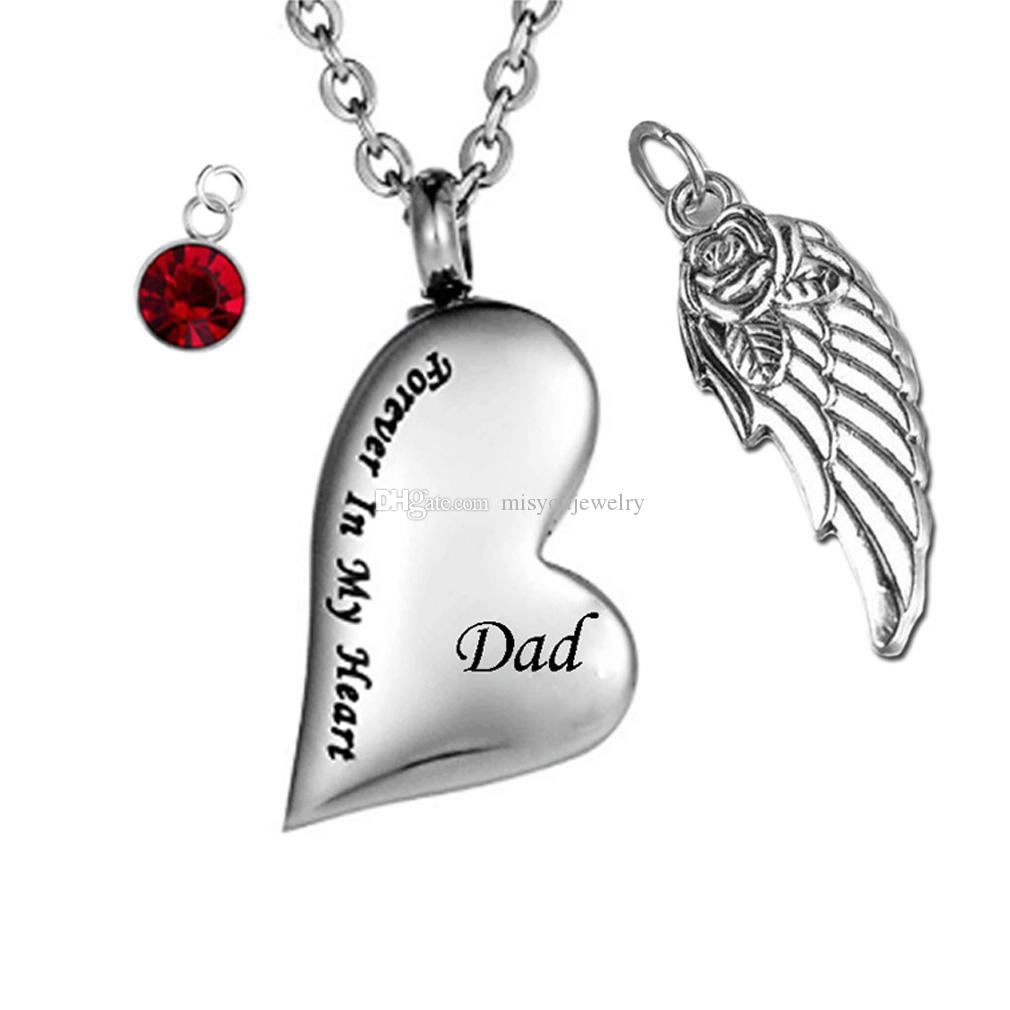 a1db6baac85da Cremation Jewelry Irregular Heart Forever in My Heart Memorial Ash Pendant  Birthstone Angel wings Urn Necklace Keepsake Family Memorial