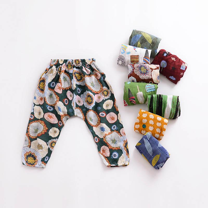Kids Air Conditioning Trousers Kids Designer Pants Boy Mosquito Control Amidships Printing Elastic Force Harem Pants 49