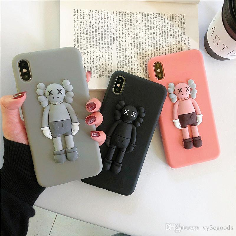 KAWS Toys Sesame Street 3D Soft Silicone Phone Cover Case For Iphone 11 pro 8 plue Cartoon Cute Cases Back Coque