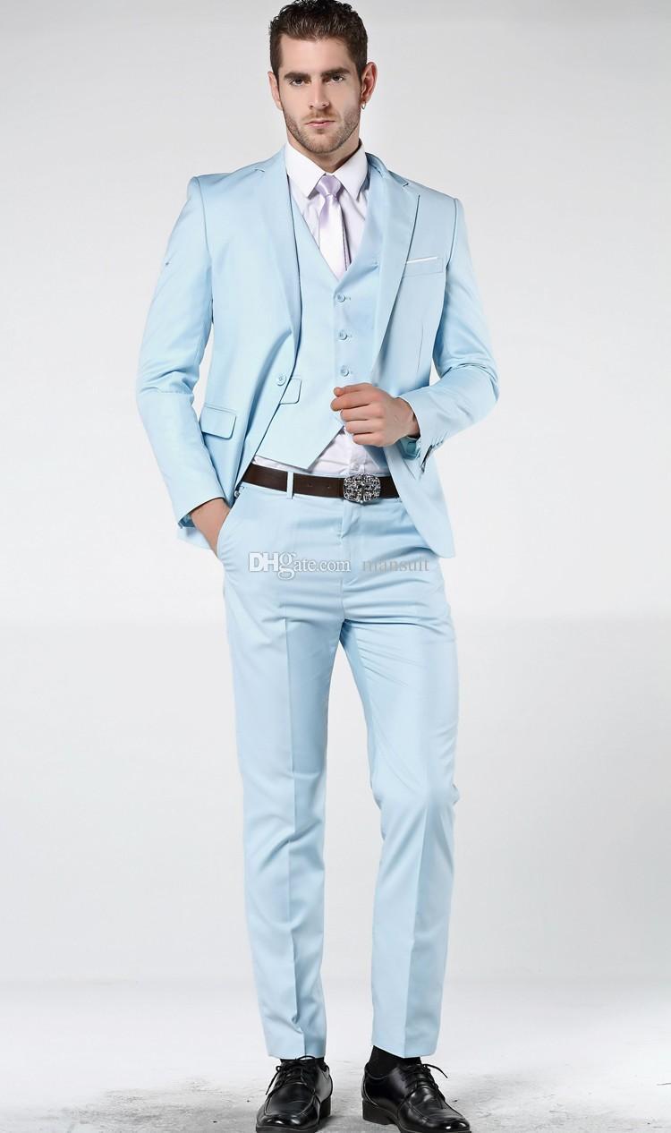 fbd2ad9adad5c Satın Al Bir Düğme Groomsmen Notch Yaka Damat Smokin Bebek Mavi Erkek Takım  Elbise Düğün / Balo / Akşam Yemeği En Iyi Adam Blazer Ceket + Pantolon +  Yelek + ...