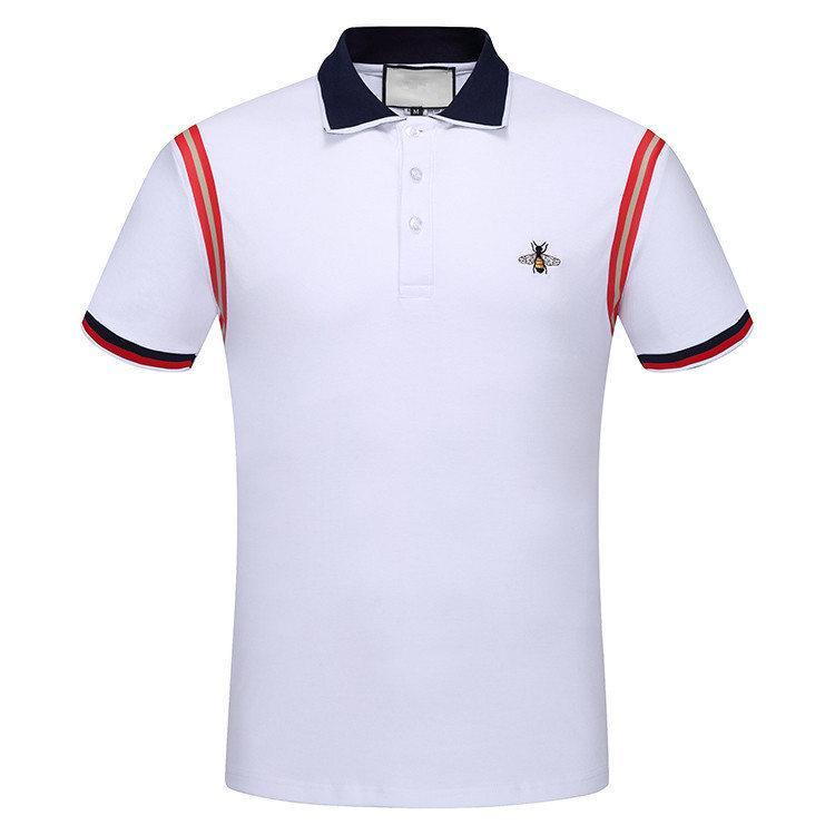 0008d935b fashion 2019ss designer luxury italian brand Men's Polos tag bee patch  embroidered polo shirt stripe t shirt poloshirts shorts clothing tee