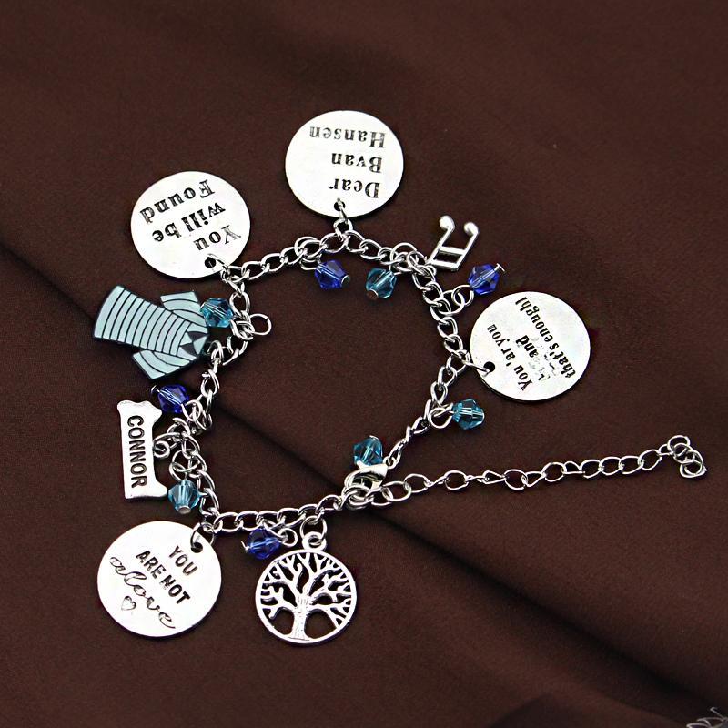 fashion Broadway's Dear Evan Hansen Musical 8 Themed Charms Silvertone Charm Bracelet