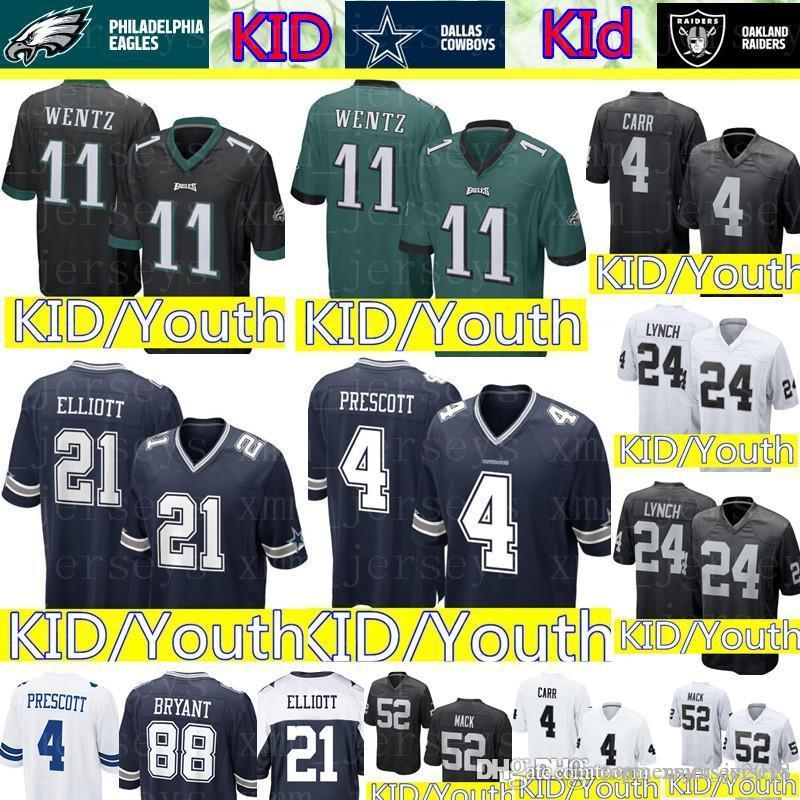 2019 Kid 11 Carson Wentz Philadelphia Eagles Jersey Youth 4 Dak Prescott 21  Ezekiel Elliott Dallas Cowboys KID Raiders 4 Derek Carr 24 Lynch From ... 0a1f02ed3