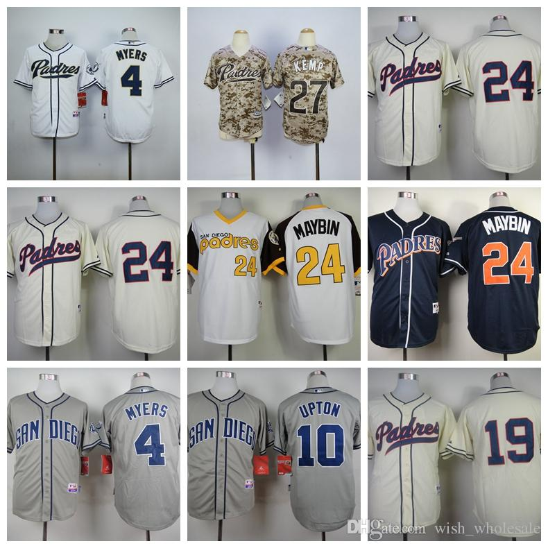 wholesale dealer 3166f f5208 Men s San Diego 10 Justin Upton 4 Wil Myers 24 Cameron Maybin Jersey  Stitched Top Quality Baseball Jerseys